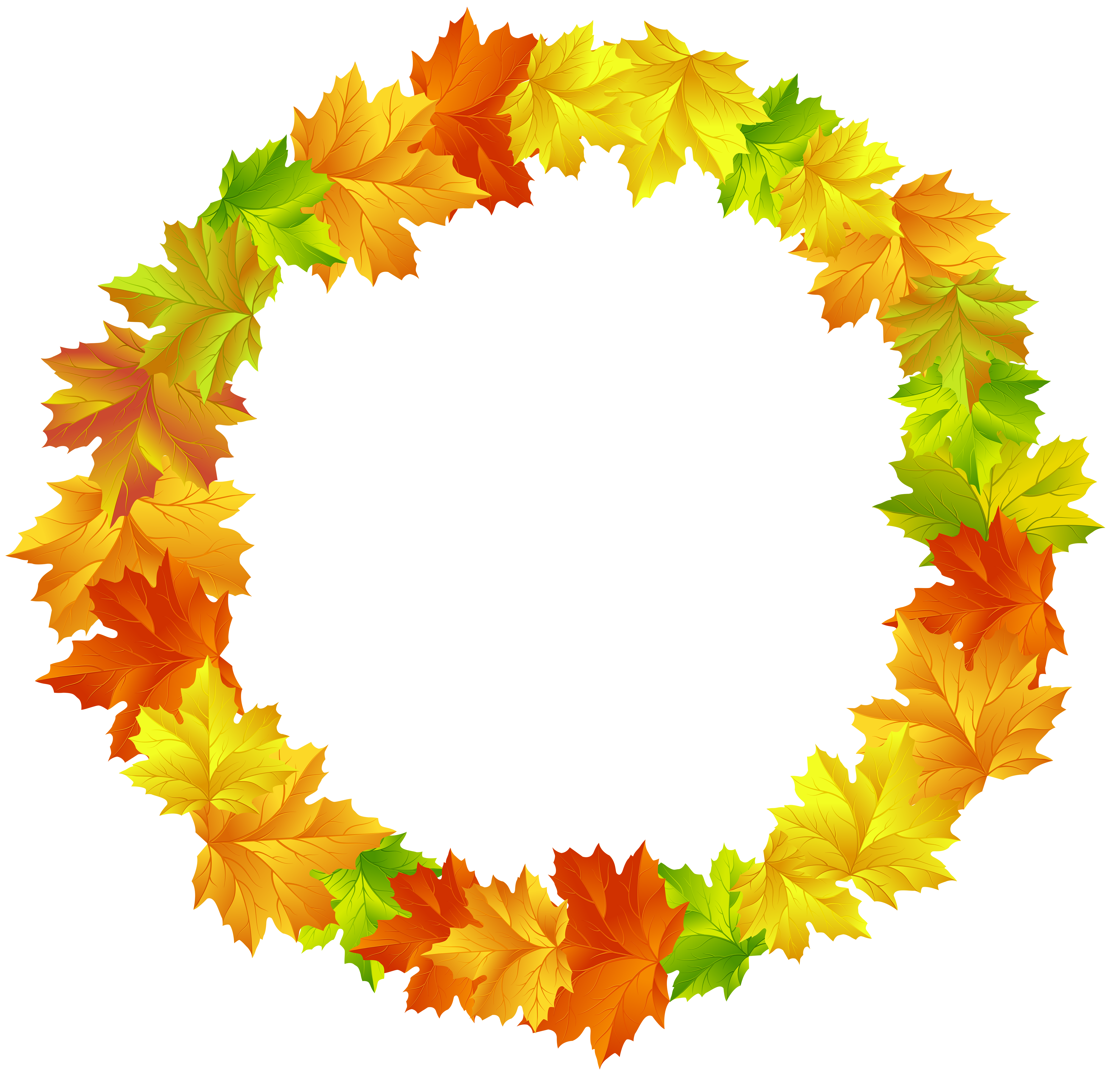 Fall leaf border png. Leaves round frame clip