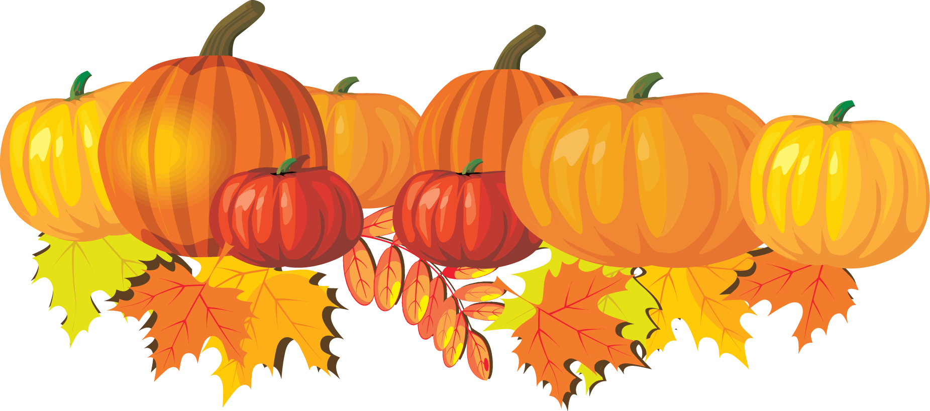 fall leaves and pumpkins border png