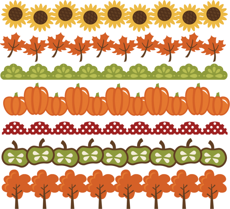 Fall leaves and pumpkins border png. Borders svg cut files