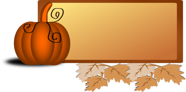 Vector pumpkins frame. Pumpkin banner leaves clip