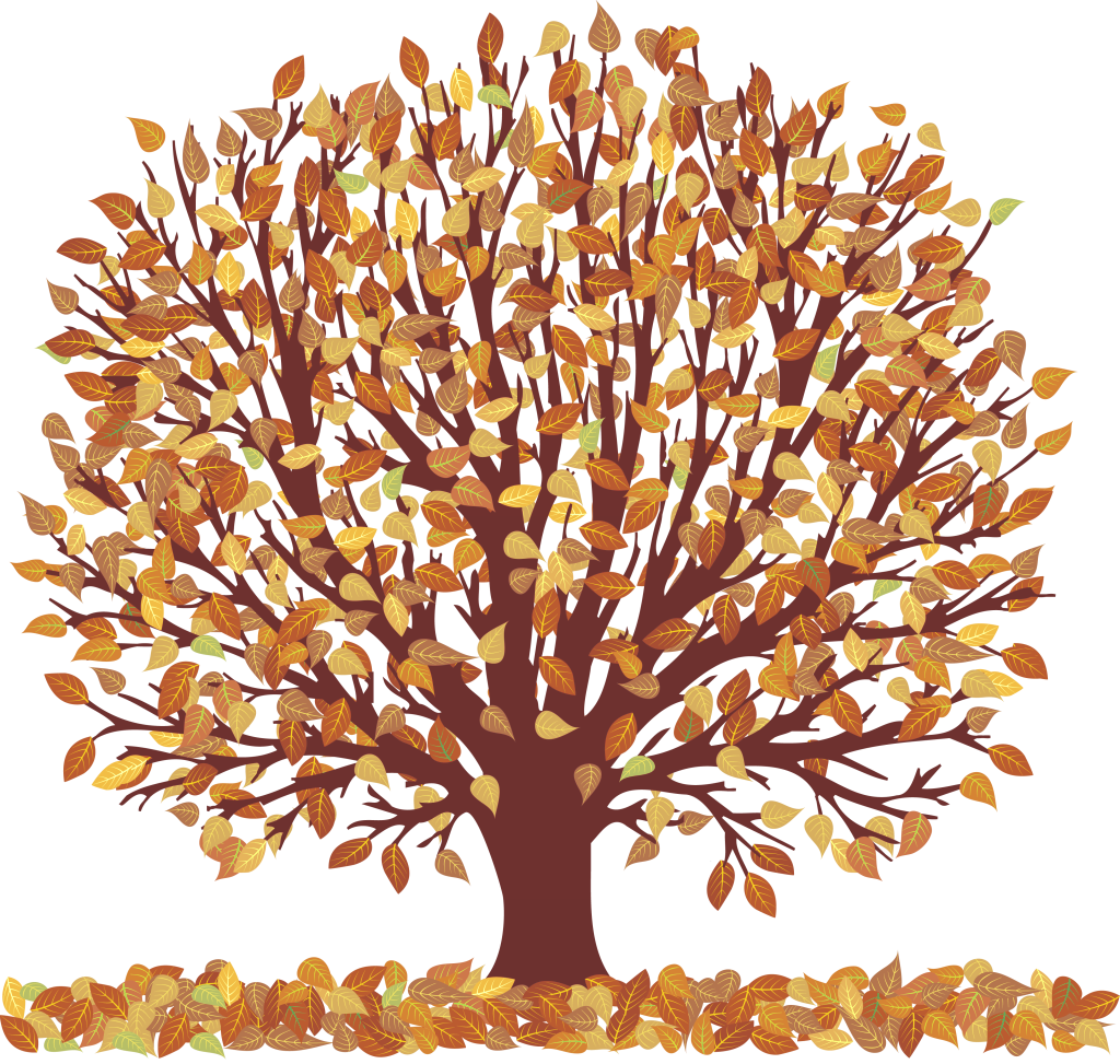 Fall clipart png. Autumn tree with falling