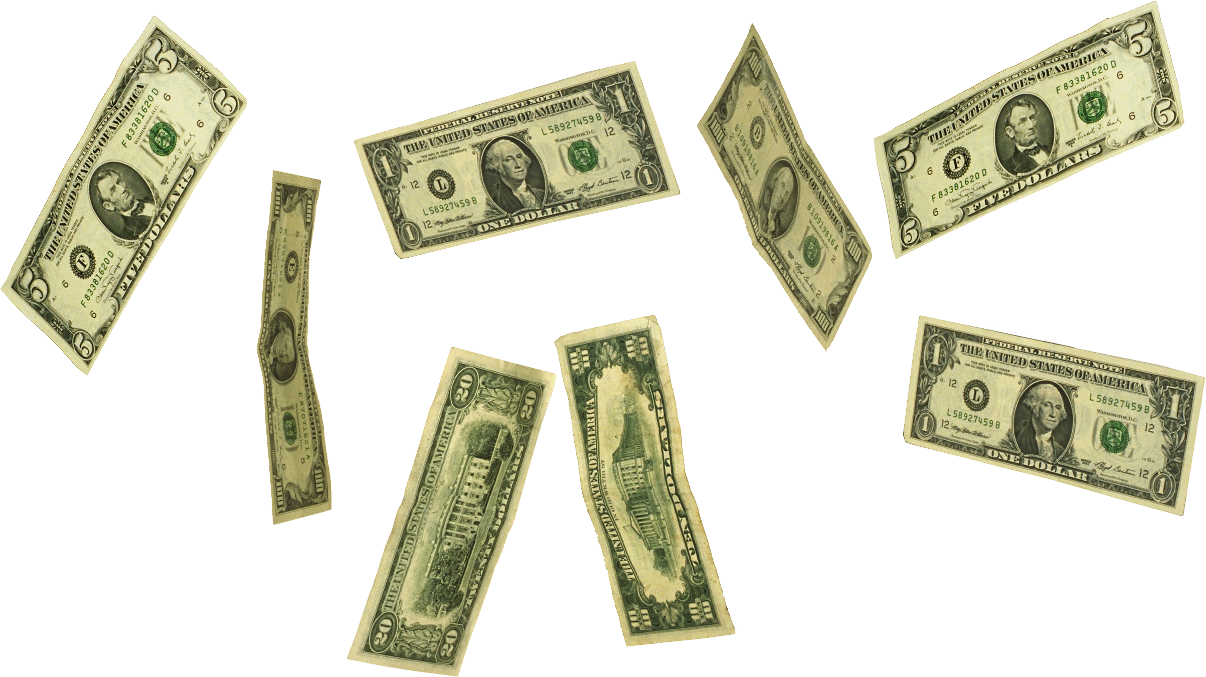 Falling cash png. Money image without background