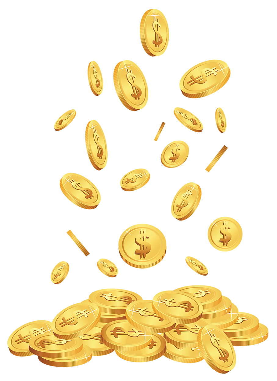 Falling coins png. Transparent cents clipart gallery