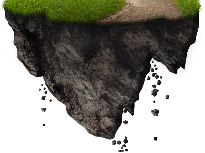 Falling dirt png. Floating island with rocks