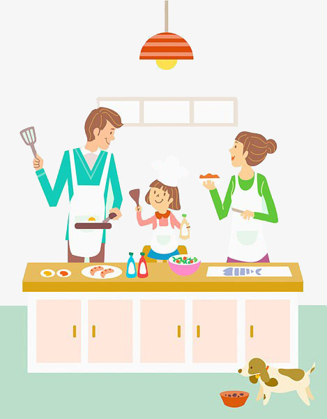 Family clipart cooking. Cook food png image