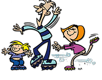 Families clipart roller skating. Greenbrier family center weekly