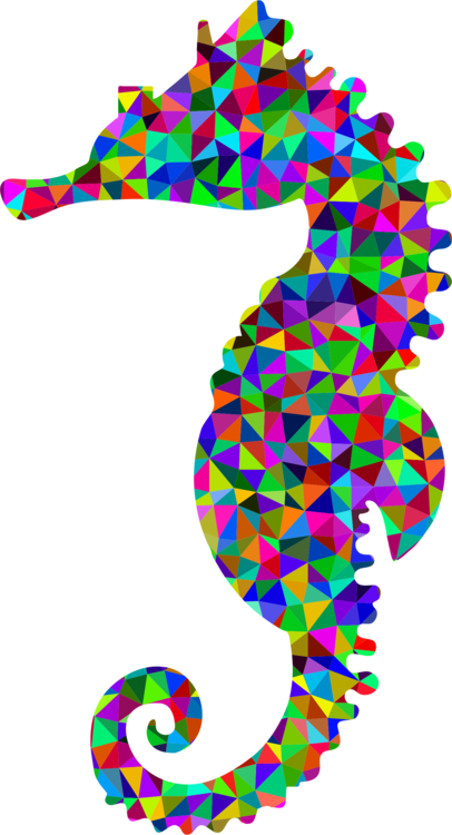 Drawing seahorse rainbow. Low poly silhouette free