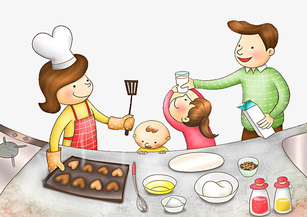 Family clipart cooking. Cook together png image