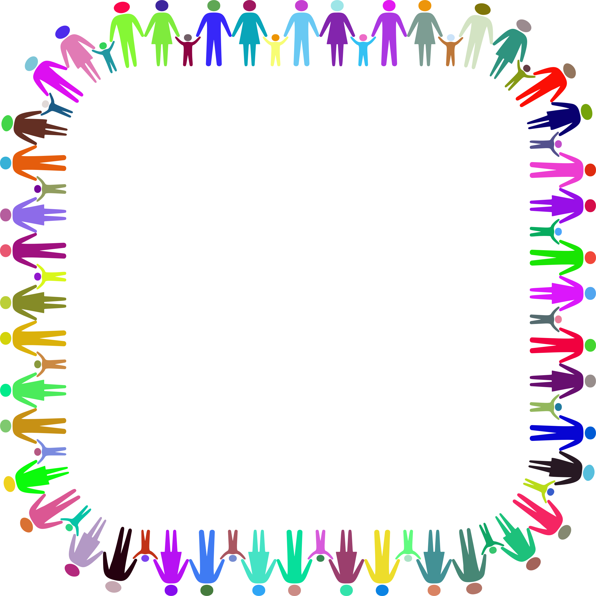 Family clipart frame. Holding hands square prismatic