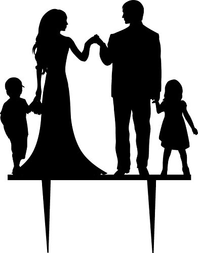 Family clipart wedding. Bride and groom silhouette