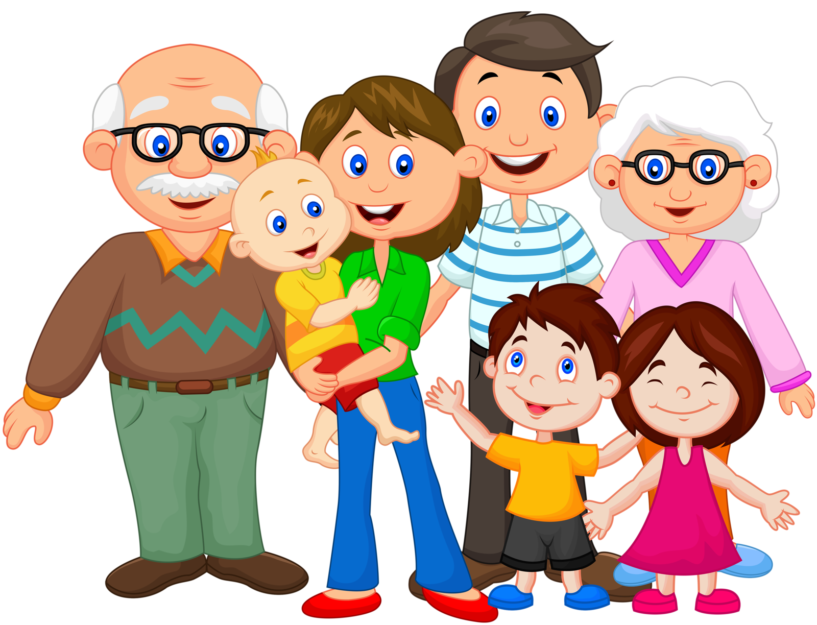 Drawing family extended. Clip art a happy