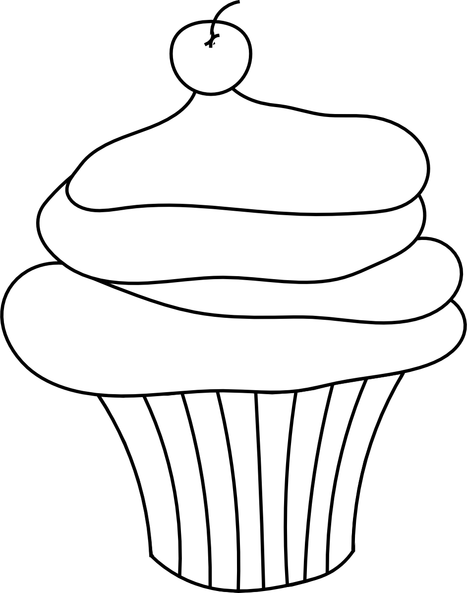 Drawing digital outline. Pin cupcake and painting