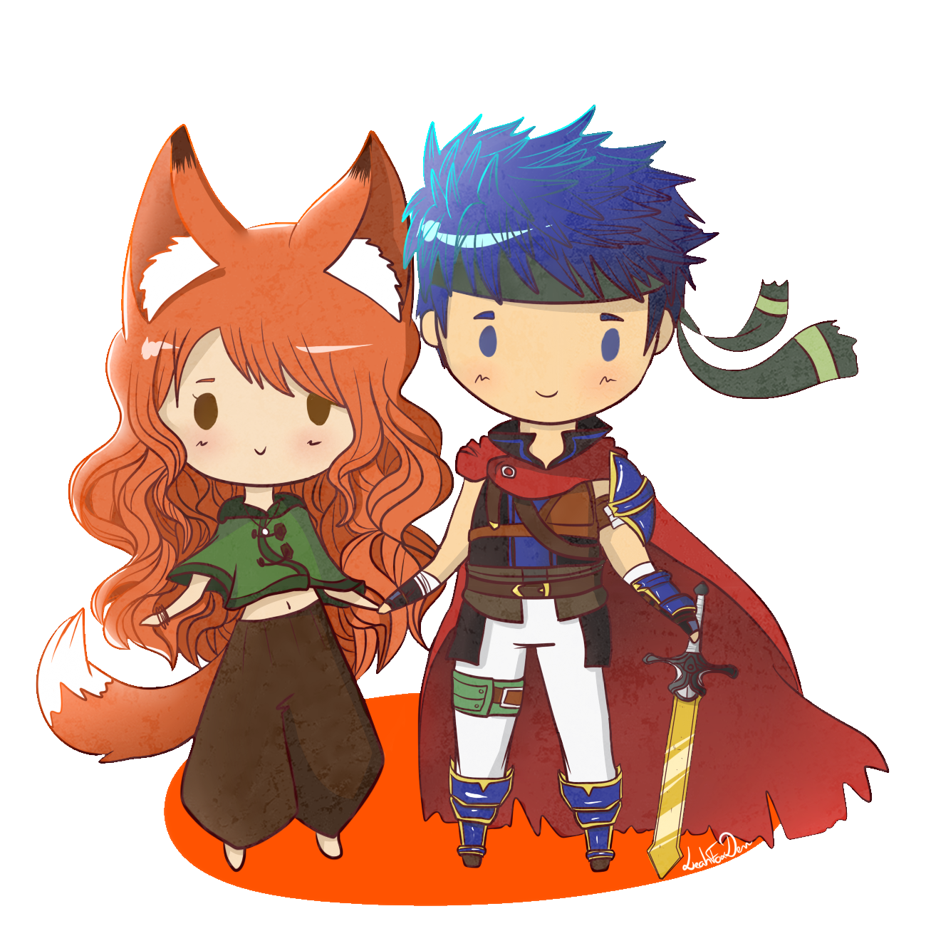 Fanart drawing couple. Chibi by leahfoxden on