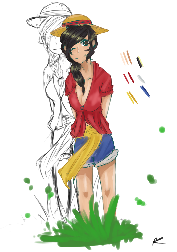 Fanart drawing female. Luffy version by potatoxbanana