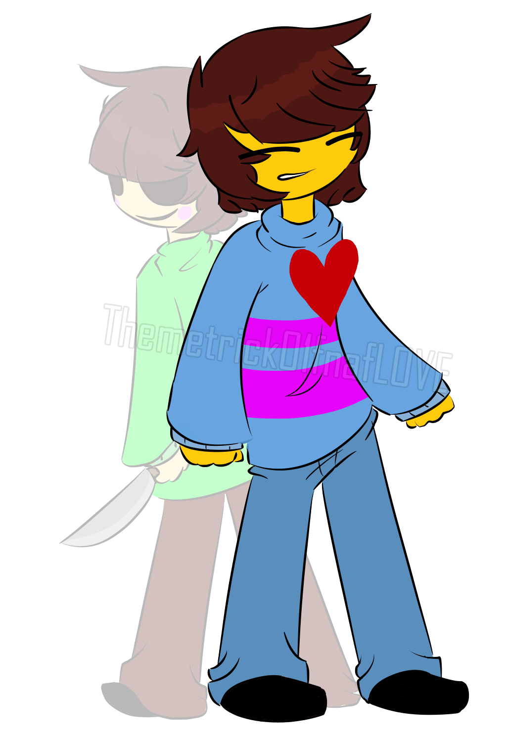 Charra drawing angel. Frisk and chara undertale