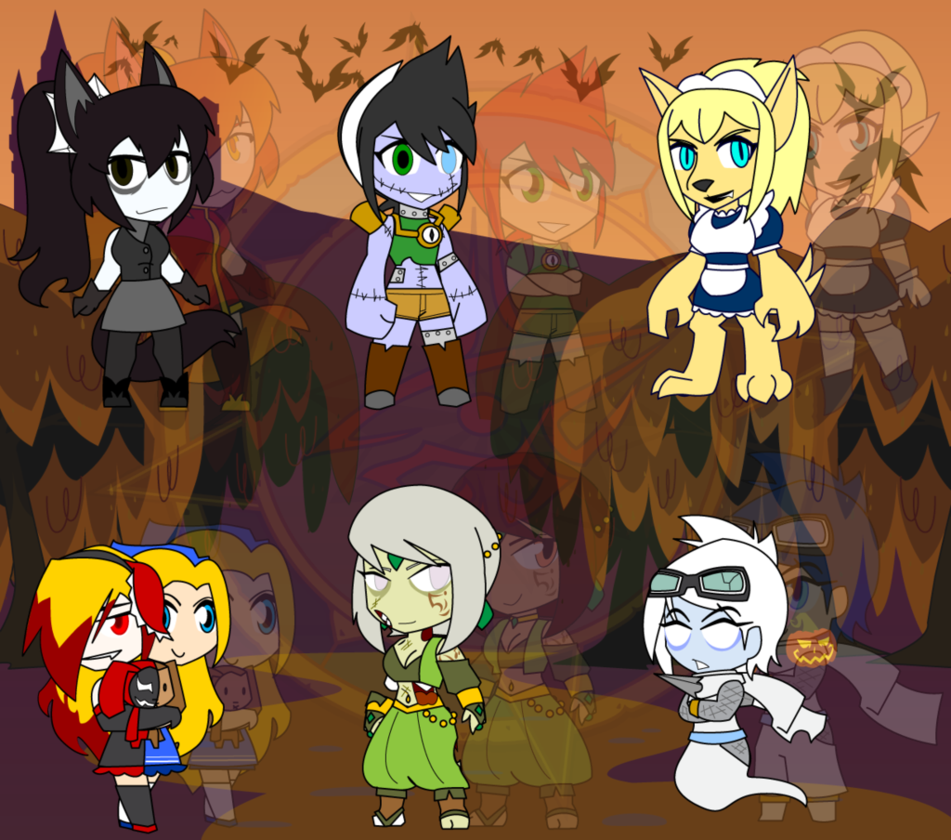 Fang drawing halloween. Assorted chibis oc party