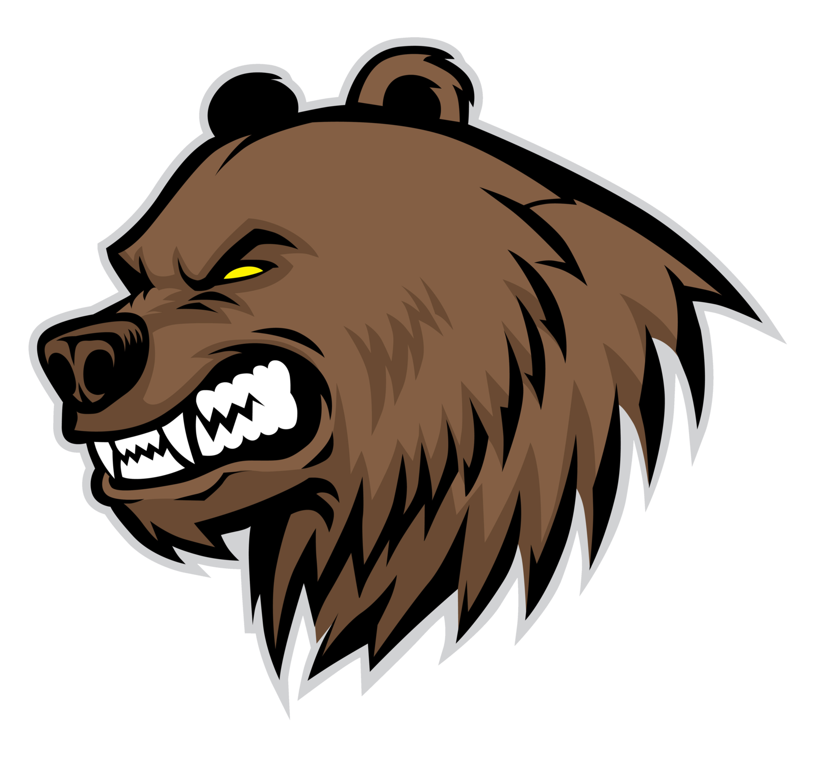 Fang drawing roar. Grizzly bear transprent png