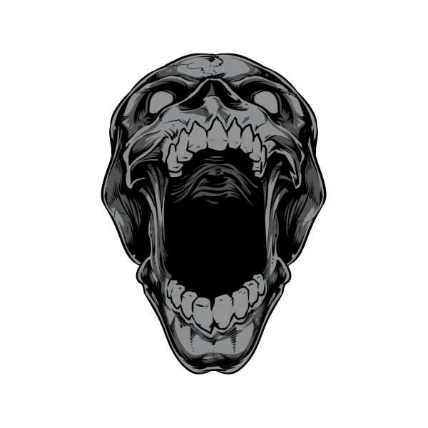 Fang drawing skull. Printed vinyl death stickers