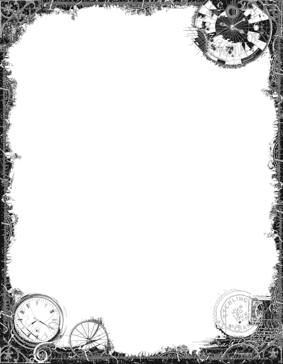 Fantasy border png. Bdr postalsteampunk black by