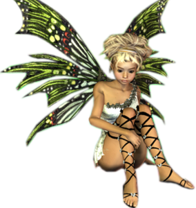 Green fairy png. Fantasy blonde sitting wings