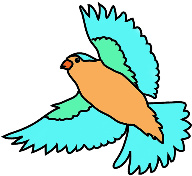 Fantasy clipart flying. Colorful drawings of birds