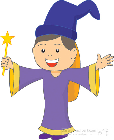 Fantasy clipart wizard. Cute little with magic