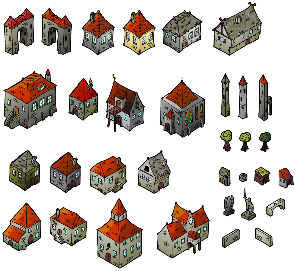 W transparent medieval. Houses isometric map elements