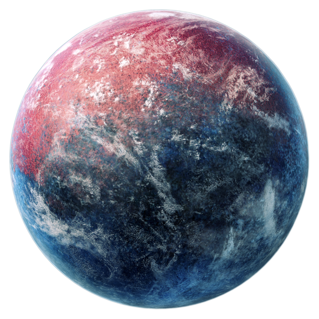 Fantasy planet png. Red and blue stock