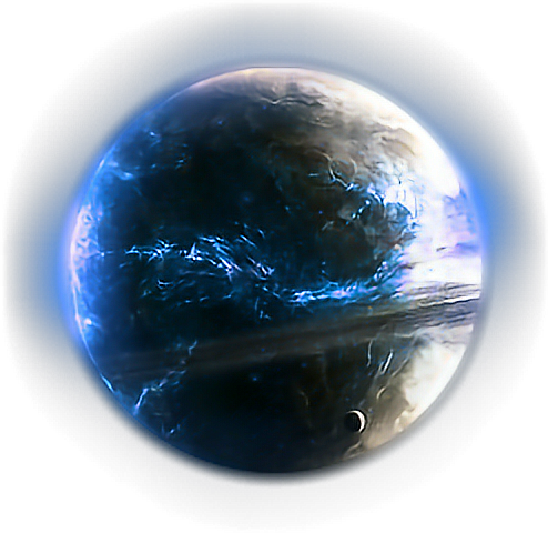 Fantasy planet png. Glow neon space effect