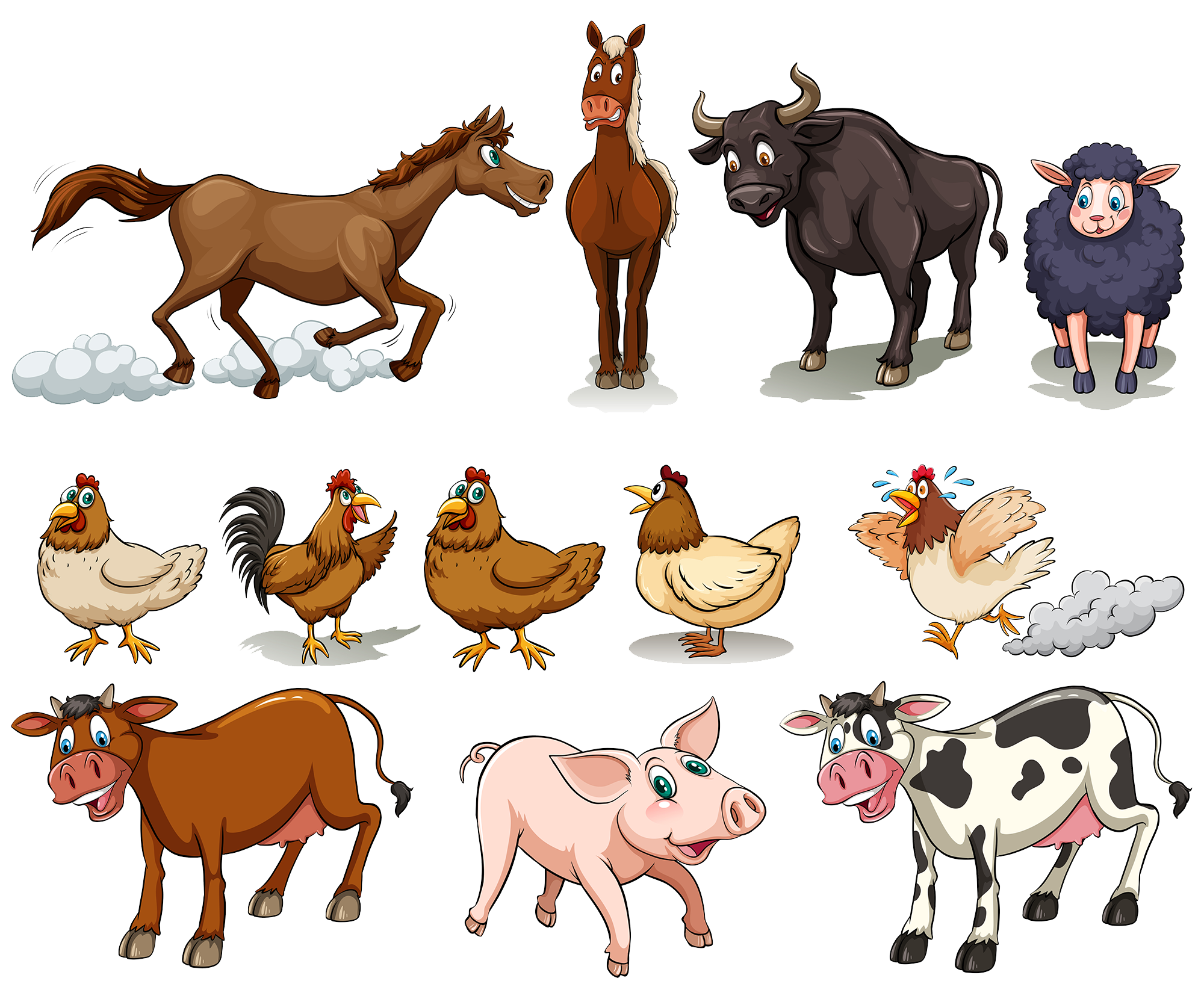 Farm animal png. Cattle chicken sheep domestic