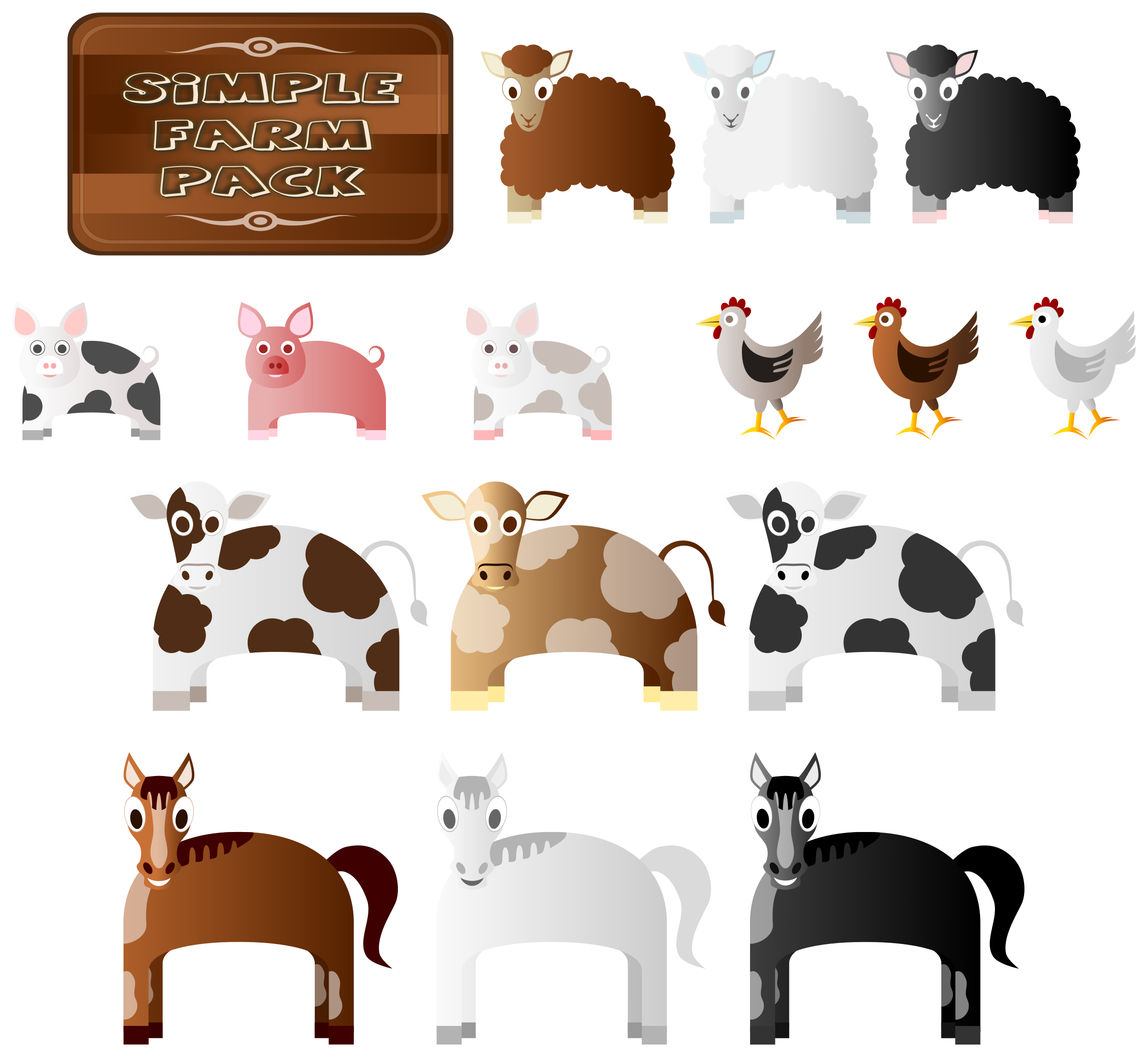 Farm animal png. Simple animals icons free