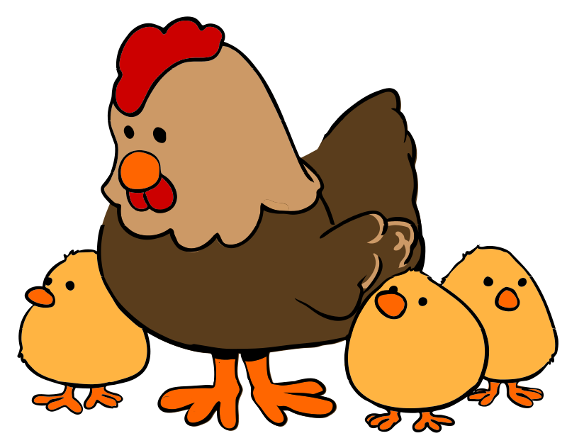 Farm animals cartoon png. Clipart hen and chicks