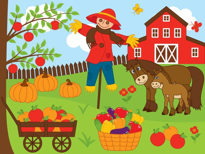 Farm clipart. Digital vector harvest autumn