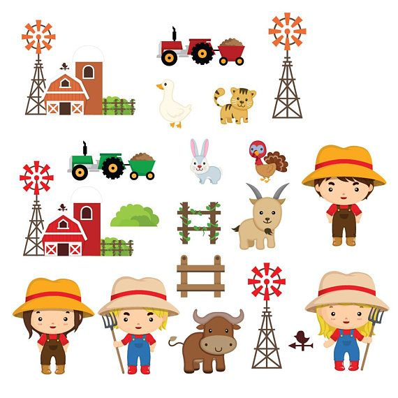 Farm clipart happy birthday. Farming animal friends cute