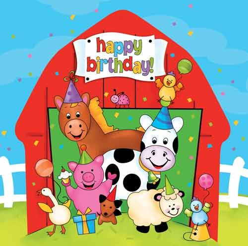 Farm clipart happy birthday. Barnyard animals party napkins