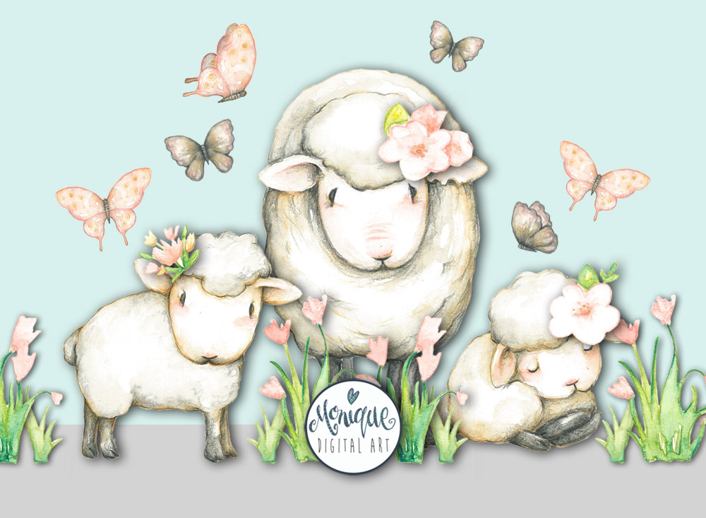 Watercolor animals painted . Farm clipart sheep banner stock