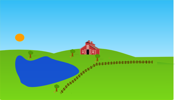 Farm clipart sunset. With lake clip art