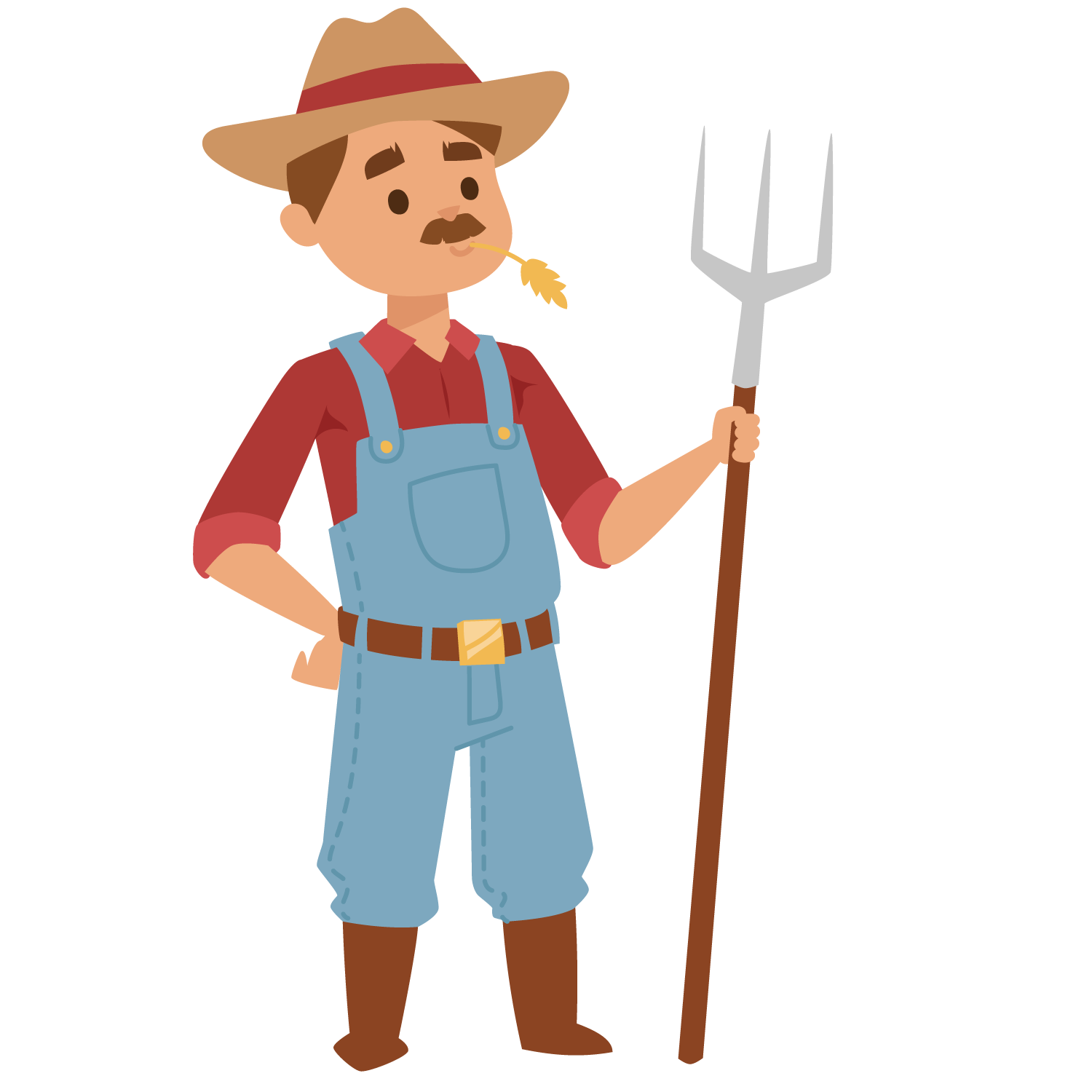 Farmer cartoon png. Agriculture holding the fork