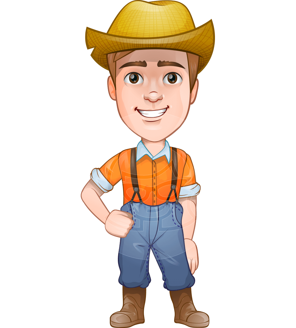 Farmer cartoon png. Vector male character arlo
