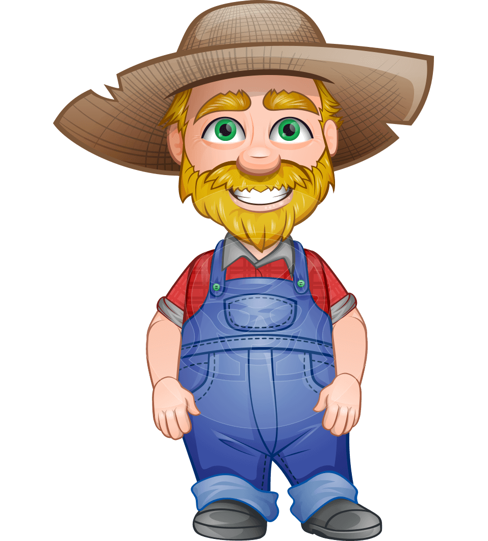 Farmer character cartoon png. Vector old arn in