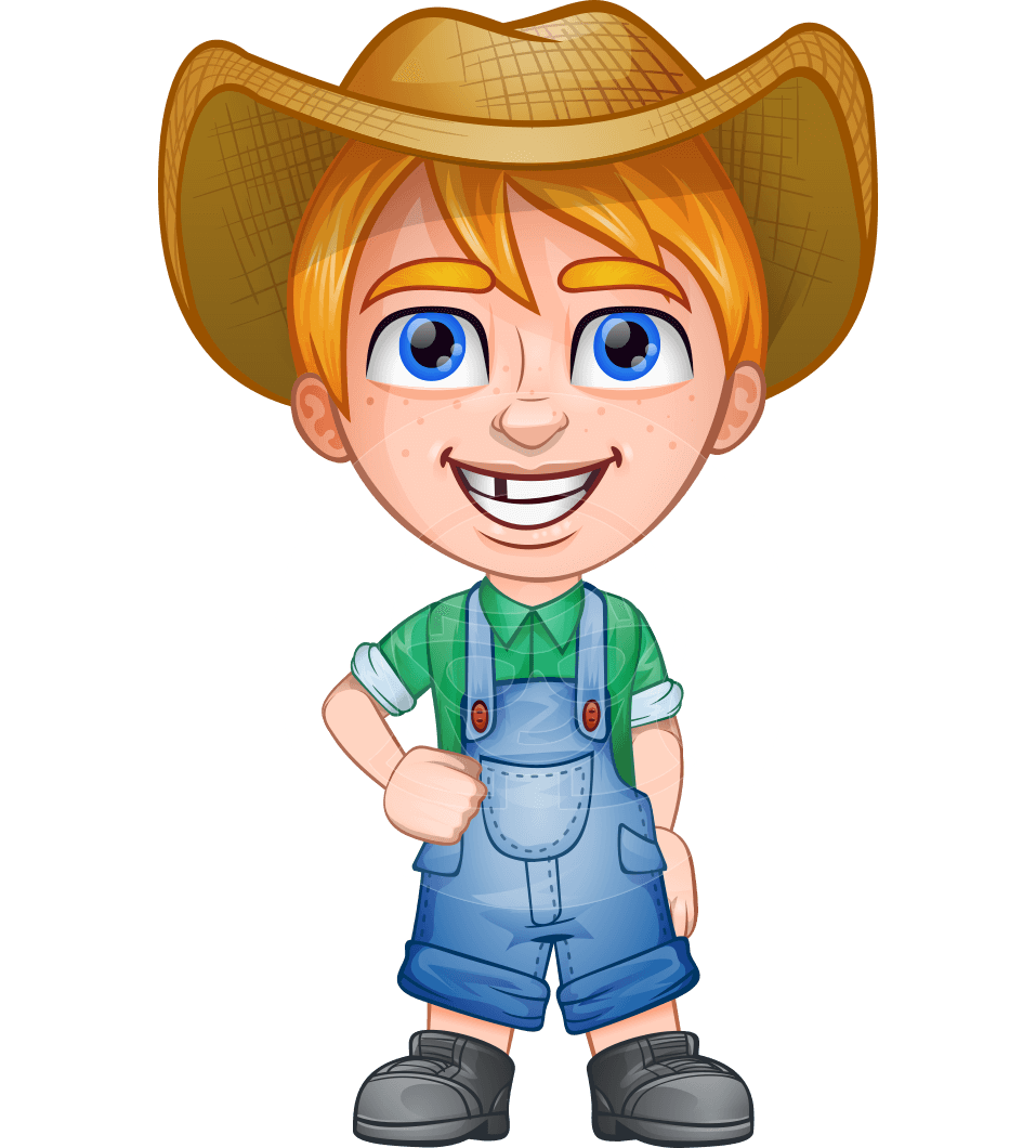 Farmer character cartoon png. Vector boy curtis the