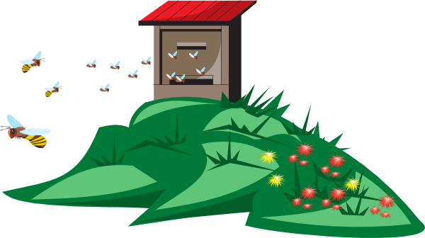 Farmer clipart bee. Bees flying to and