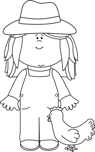 Black and White Girl Farmer Clip Art