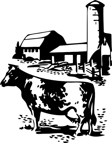Farmer clipart png black and white. Cow on a farm