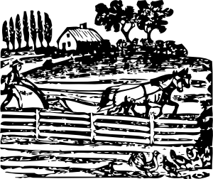 drawing farmhouse farm scene