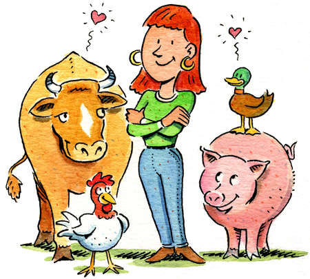 Farmers clipart human animal. Stock illustration smiling woman