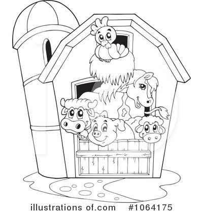 Farmers clipart outline. Farm animals illustration by