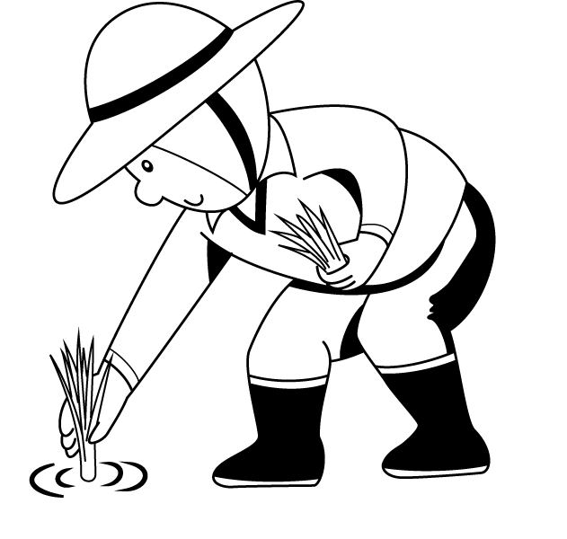 Drawing farmer colouring. Free farm planting cliparts
