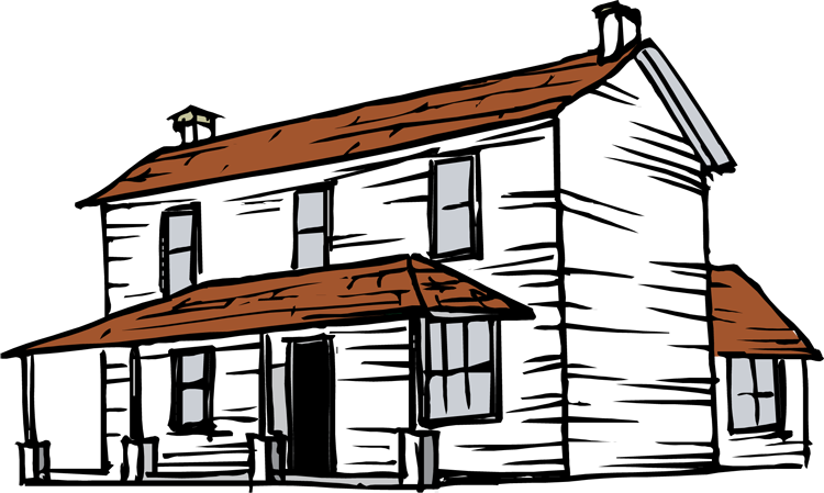 farmhouse clipart house line art