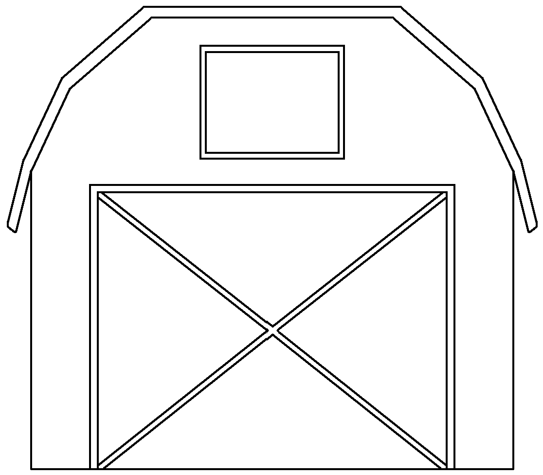 Farmhouse clipart big red barn. Open door black and